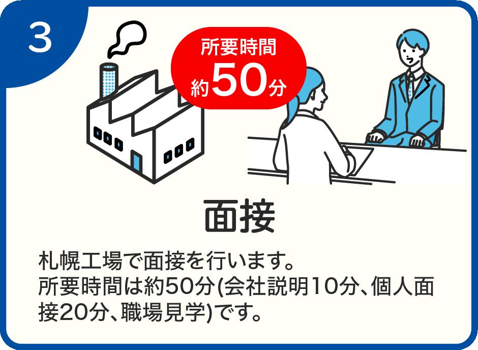 札幌工場で面接を行います。所要時間は約50分(会社説明10分、個人面接20分、職場見学)です。